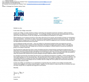 John Jay College SJP statement